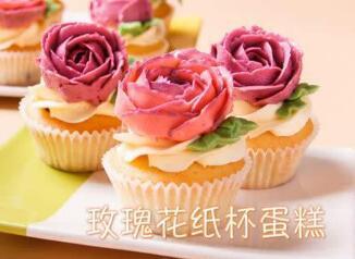 玫瑰花纸杯蛋糕